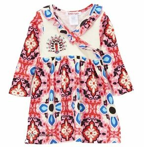 Girls-BABY-NAY-pink-blue-peacock-boutique-dress-3-6-12-18-months-NWT-long-cotton