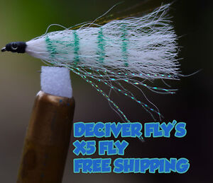 5x-Fly-Fishing-Saltwater-Deceiver-Fly-039-s-lure-intimation-white-bait-flys-Bream