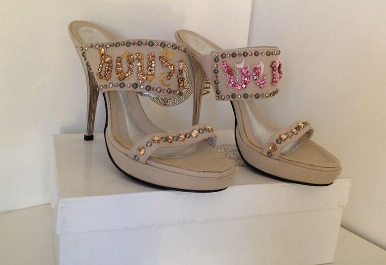 Versace tacón alto zapatos de de de salón stilettos talla 40  autentico en linea