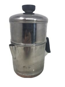 Vtg-Revere-Ware-1801-4-Cup-Drip-O-Lator-Stainless-Copper-Clad-Coffee-Pot