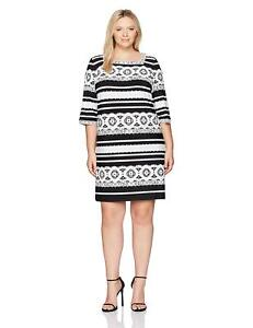 Details about Sandra Darren Women\'s 1 Pc Plus Size 3/4 Sleeve Ity Puff  Print Dress