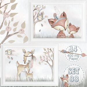 2-x-Kinderzimmer-Babyzimmer-Bilder-Set-Wald-Tiere-Fuchs-Reh-Bild-DIN-A4-S-33