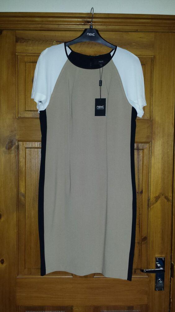 Next Beige Noir Cream Tailored Dress Uk 8 Euro 36 Neuf Avec étiquette