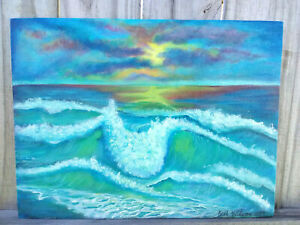 Original-Acrylic-Painting-9-x-12-Canvas-Panel-Beach-Sunset-Nautical-Coastal-Art