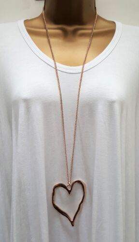 New Ladies Lagenlook Rose Gold Colour Long Big Abstract Heart Necklace Pendant