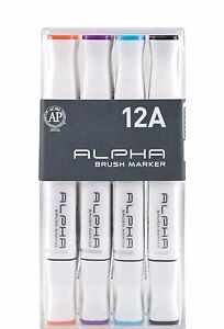 Alpha Brush Marker Twin Tip Set 12A Colors Graphic Art Design Brush Broad Nibs