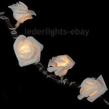 LED BATTERY OPERATED SILK ROSES FAIRY STRING LIGHTS WARM WHITE WEDDING UK IVORY
