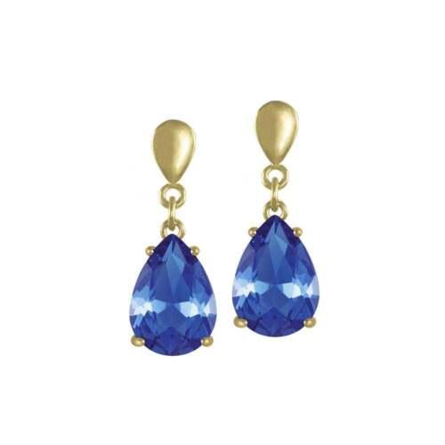 Seduction Teardrop Sapphire Blue Crystal Gold Tone Drop Clip On Earrings