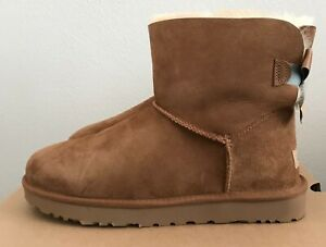 Details about Size 11 UGG Womens Mini Bailey Bow II Shimmer Boots Chestnut Brown Warm Winter