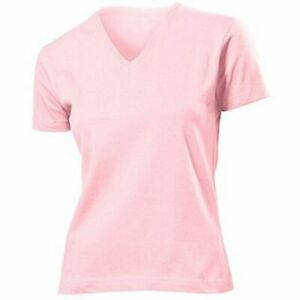 Damen-T-Shirt-in-light-Pink-CLASSIC-T-V-NECK-Kurzarm-Stedman