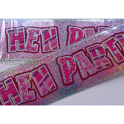 12ft Sparkly Holographic Pink Foil Hen Party Banner Hen Night Wall Decoration