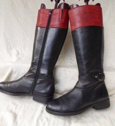HILFIGER botas plates CUIR negro biColor rojo cavalières T 37 bon état