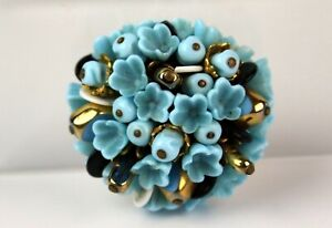 Vintage Molded Blue Glass Gold Tone Accent Flower Brooch