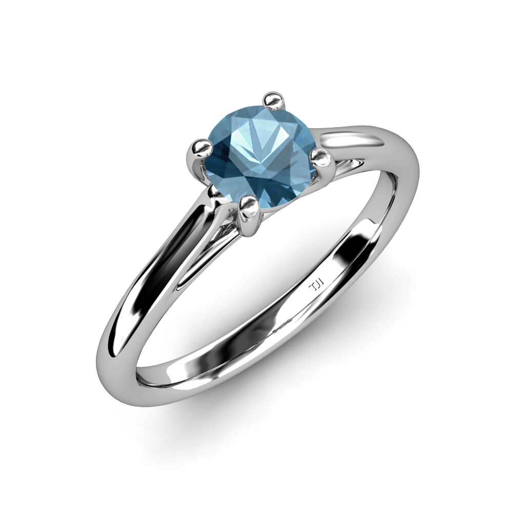bluee Topaz Solitaire Engagement Ring 1.05 ct in 14K gold JP 82036