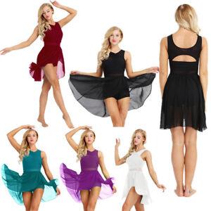 Women-039-s-Lyrical-Ballet-Dance-Dress-Adult-Girl-Gymnastics-Leotard-Skirt-Dancewear