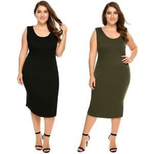 Details about Women\'s Scoop Neck Solid Split Bodycon Tank Midi Dress Plus  Size DKVP
