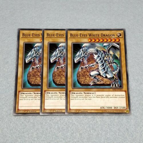 3x Yugioh Blue Eyes White Dragon 1st Edition Card Playset NM Speed Dueling SS02