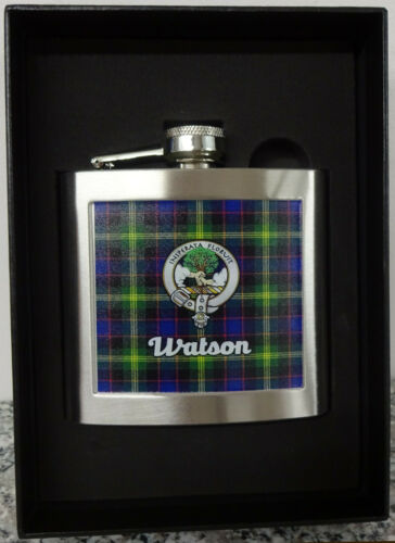 Made in the UK Hip Flask Scottish Clan Watson 5oz In Presentation Box