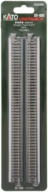"""New Kato N gauge 20-000 straight line 248mm about 9-3/4"""" (4 pieces) S248 Japan"""