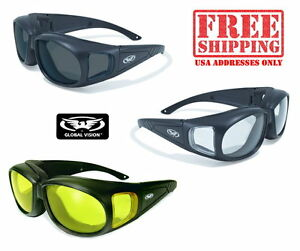 New Global Vision UV400 Shatterproof Motorcycle Sunglasses//Biker Glasses Pouch