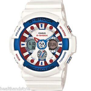 Casio-G-Shock-GA-201TR-7A-White-Tri-Color-Marine-Analog-Digital-Sports-Watch