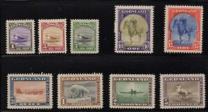 Greenland-Sc-10-18-1945-Seal-King-Bear-Dogsled-Kayak-set-mint-Free-Shipping