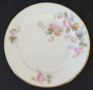 """Epiag Czechoslovakia Bread Plate Pink Blue Yellow Roses Gold Trim 6278 6 1/4"""""""