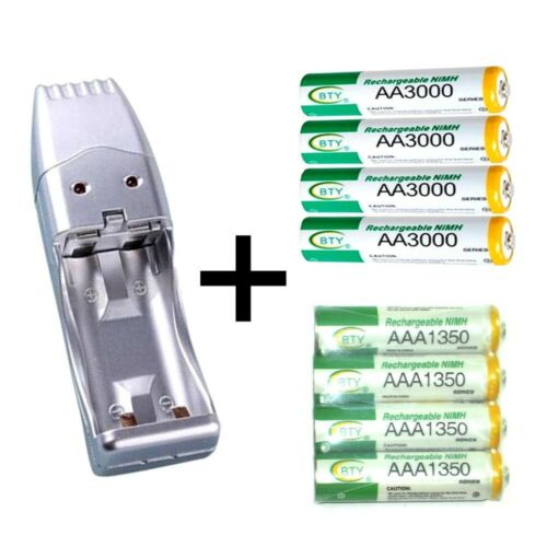 Portable USB Battery Charger 4 AA /& 4 AAA Ni-MH Rechargeable batteries