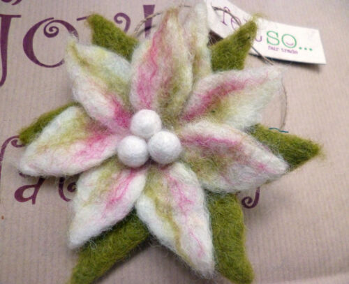 Hand Felted Fair Trade Brooch Lily Flower Petals Pastel Colours Ethical Gift