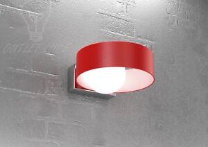 Applique lampada parete rossa design moderno cromo vetro soffiato
