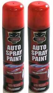 2 x red gloss aerosol spray cans for cars vans rapide. Black Bedroom Furniture Sets. Home Design Ideas