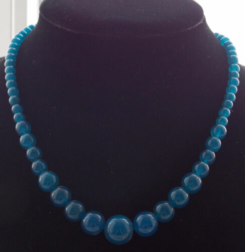 """HOT!!!Natural 6-14mm apatite Round Beads Necklace 18 /""""AAA"""