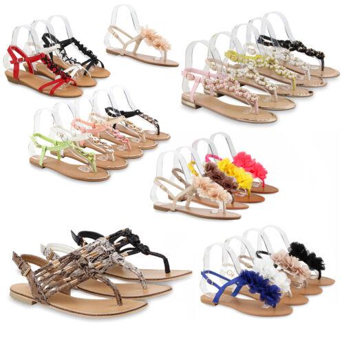 Damen Sandalen Flats Zehentrenner Beach Ketten 75080 Schuhe