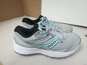 WOMENS SAUCONY GRID COHESION 13 GRAY TEAL WHITE RUNNING SHOES SIZE 7.5M A143