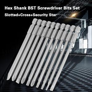 10Pcs-100mm-1-4-034-Hex-Shank-Magnetic-BST-Screwdriver-Bits-Set
