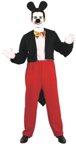 Déguisement Homme Souris MICKEY noir rouge XL Adulte Dessin Animé NEUF pas cher