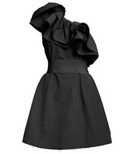 New-Lanvin-H-amp-M-Little-Black-One-Shoulder-A-Line-Dress-Size-UK-10-EU-38-US-8