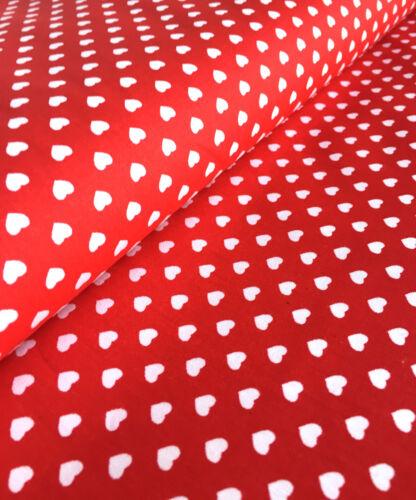 SMALL HEARTS 100/% Cotton Poplin Fabric Material Red White Heart print 140cm wide