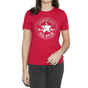 Converse-All-Star-Men-039-s-T-Shirt-Red-Silver-10003580-a02-934