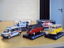 4 x VW TRANSPORTER 1:43 T1 MICROBUS SPLITTIE T2 BAY WINDOW T4 & T5 + TIN SIGN