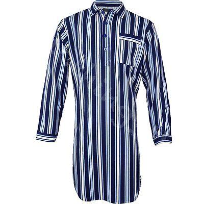 Mens Night Shirt Traditional Striped Nightshirt  Brushed Flannel Warm