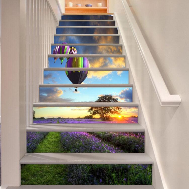 3D Heißluftballon 5 Stair Risers Dekoration Fototapete Vinyl Aufkleber Tapete DE