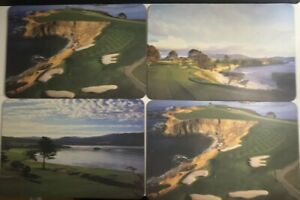 Vintage-Rare-Pebble-Beach-Golf-Links-Photo-Monterey-Set-of-4-Golfers-Place-Mats