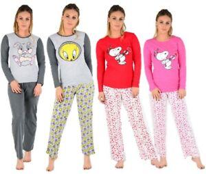 04eef13042 Ladies Long Sleeve Snoopy Pyjama s Womens PJ s Mickey   Minnie Mouse ...