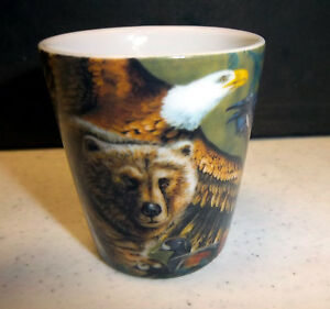 Alaska-Shotglass-Beautiful-Wildlife-Collage-eagle-moose-wolf-grizzly-NICE