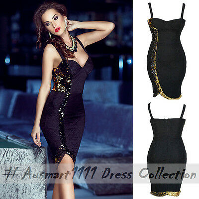 Sexy Sleeveless Lace Sequin Slit Midi Slim Formal Cocktail Evening Party Dress