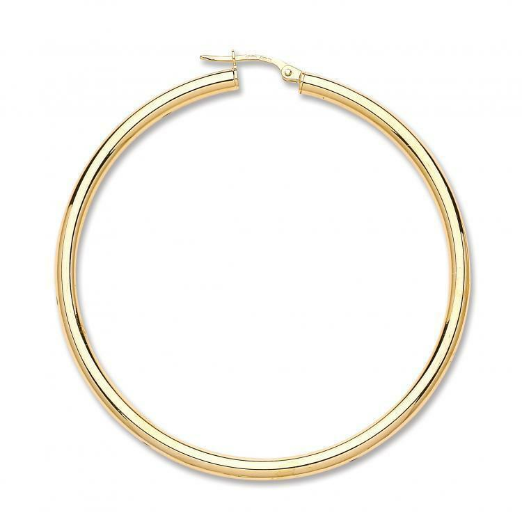 Classic 9ct Yellow gold Large 50mm Plain Round Tube Hoops Earrings Gift Boxed