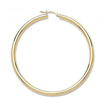 Solid 9ct Yellow Gold Moondust Oval Shaped Large Hoops Earrings 2g Gift Boxed