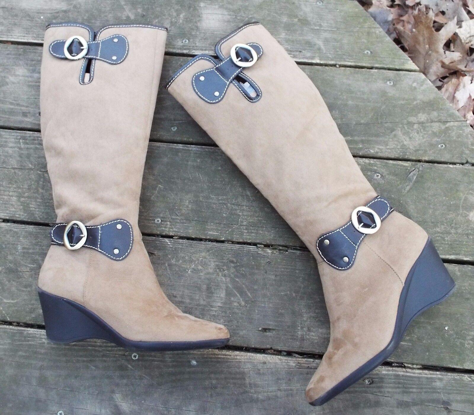 NWOB AEROSOLES  WONDERLING BOOTS,  Tan Knee-High Wedge Boots, Women's Size 9.5