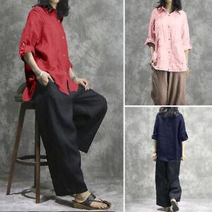ZANZEA-Femme-Chemise-100-coton-Couleur-Unie-Manche-Longue-Ample-Shirt-Tops-Plus